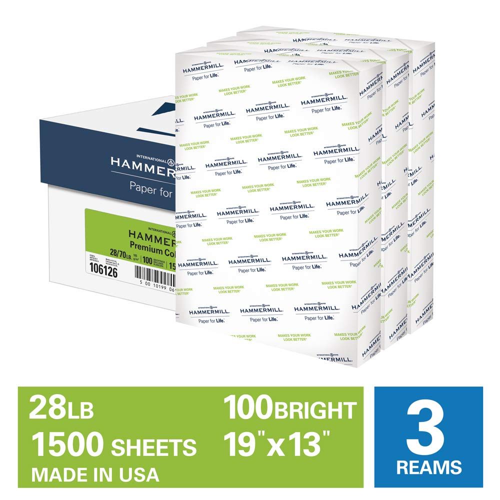 Hammermill Premium Color Copy 28lb Paper, 19 x 13, 3 Ream Case, 1500 Sheets, Made in USA, Sustainably Sourced From American Family Tree Farms, 100 Bright, Acid Free, Color Copy Printer Paper, 106126C