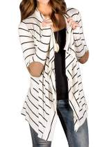 Women's Casual Long Sleeve Open Front Draped Elbow Patch Striped Cardigans