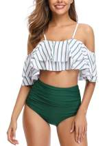 Women Off Shoulder Bikini Set Ruffled Printed High Waist Bottom Bathing Suit