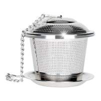 Numola Loose Leaf Tea Infuser, Reusable Stainless Steel Tea Ball, Fine Mesh Tea Strainer with Drip Tray, Tea Filter and Steeper with Extented Chain Hook for Tea Lovers