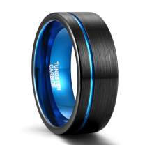 Greenpod 8mm Black Tungsten Ring for Men Blue/Rose Gold/Silver Thin Groove Line Dome Brushed Comfort Fit Size 7-13.5