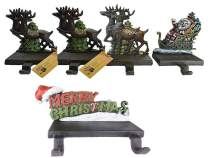 """Lulu Decor, 100% Cast Iron Santa Claus & 3 Reindeer Stocking Holders, 3 Lb Each + Merry Christmas Stocking 2 Hooks Holder, Weighs 3 lb, 7"""" Wide, Beautiful Solid Appearance (Combo Deal ODMC)"""
