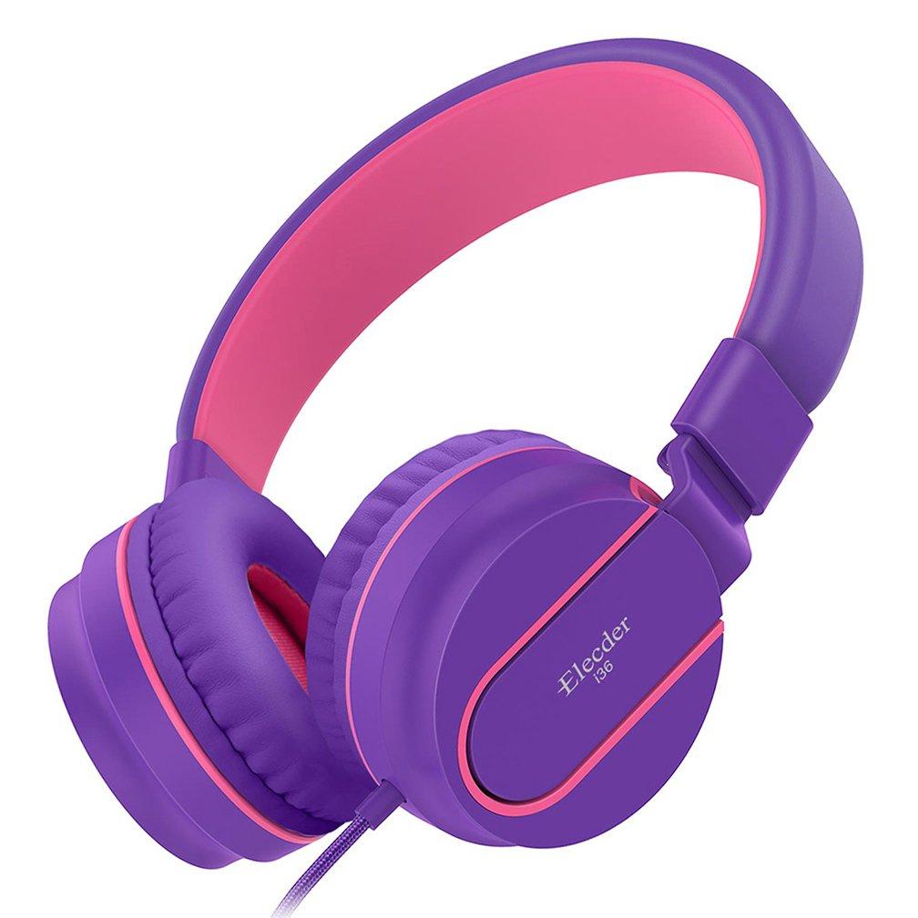 Elecder i36 Kids Headphones Children Girls Boys Teens Foldable Adjustable On Ear Headphones 3.5mm Jack Compatible iPad Cellphones Computer Kindle MP3/4 Airplane School Tablet Purple/Red