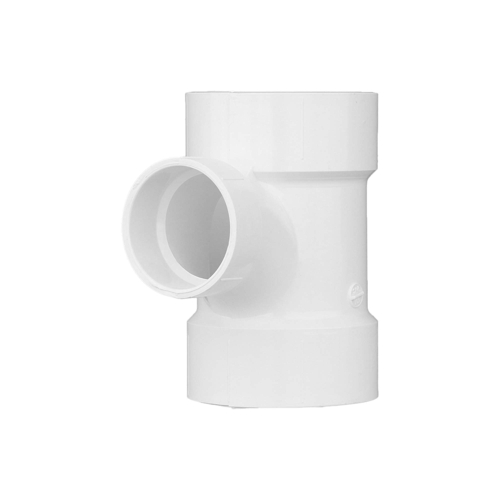 """Charlotte Pipe 3"""" X 3"""" X 2"""" Sanitary Tee Pipe Fitting - Reducing Schedule 40 PVC DWV (Drain, Waste and Vent) Durable, Easy to Install, and High Tensile for Home or Industrial Use (Single Unit)"""