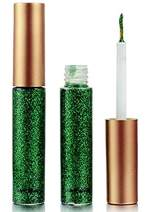 Liquid Eyeliner, FOCALLURE Waterproof Glitter Shimmer Eyeshadow Highlighter Metallic Sparkling Eye Liner Platinum (#7 Green)