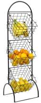 Sorbus 3-Tier Wire Market Basket Storage Stand for Fruit, Vegetables, Toiletries, Household Items, Stylish Tiered Serving Stand Baskets for Kitchen, Bathroom Organization (3 Tier Basket - Black)