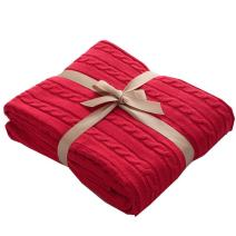 LakeMono Cozy Handmade Super Soft Crochet Fabric Lovely Sleeping Throws Comfortable and Warm Oversized Sofa Quilt Living Room Blanket Fit for Adult and Teens Resting Reading Apply on All Seasons (Red)
