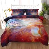 ENCOFT 3D Beautiful Galaxy Comforter Bedding Sets for Teen Girls Boys Twin/Full/Queen 3 Pieces, tecenl Cotton Multi Galaxy Comforter Sets