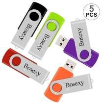 5 X 2GB USB Flash Drive, Bosexy Thumb Drive Memory Stick Swivel Keychain Design with Led Indicator, Black/Green/Red/Orange/Purple (5PCS, 2GB Each, Mix Color)