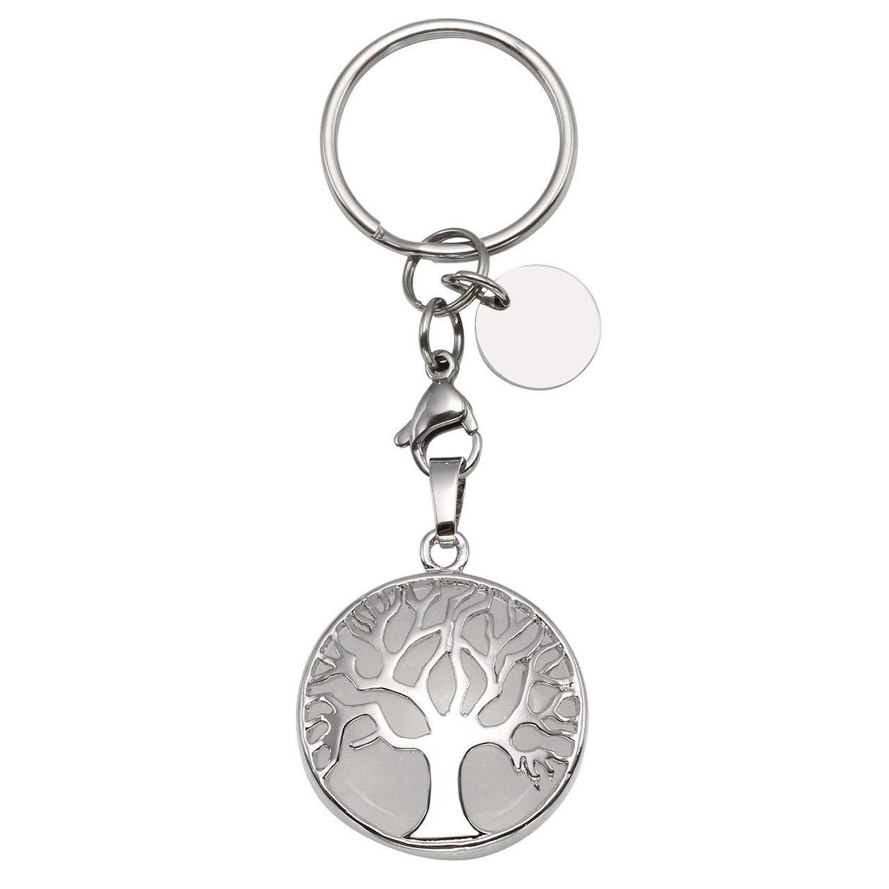 CrystalTears Tree of Life Keychain Semiprecious Stone Reiki Healing Crystals Keyring Handbag Decor Hanging Ornament