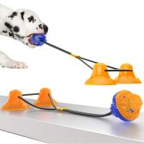Deceny CB Updated Dog Suction Rope Toy with 2 Suction Cups Dog Toy Pet Suction Cup Toy Pet Molar Bite Toy Dog Tug Toy Dog Rope Ball Pull Toy with Suction Cup Chew Tug Toys (Double Orange+Blue)