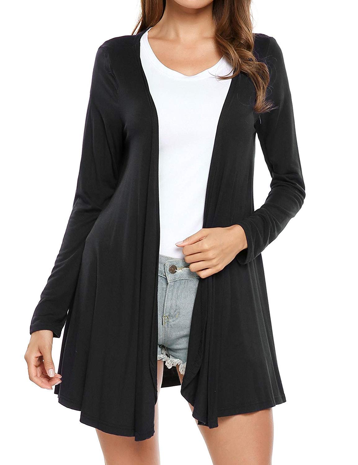 SoTeer Women's Open Front Cardigan Long Sleeve Draped Ruffles Cardigan Knit Sweaters S-XXL