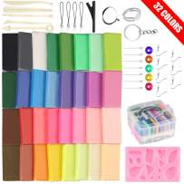 32 Colors Polymer Clay Starter Kit Oven Bake Clay, 2 Hardness Options,Tomorotec CPSC Conformed Non-Toxic Molding DIY Clay Oven Baking Clay with Sculpting Tools Safe for Kids, Artists (Softer)