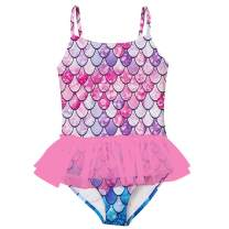 swimsobo Girls Swimsuits Bathing Suit One Piece Bikini 3D Printed Halter Sunsuit with Ruffle Tulle Frill 3-10T