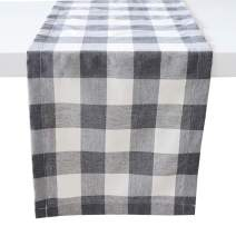 "ARKSU Christmas Table Runner Plaid Polyester-Cotton Blend for Dinner Table Indoor or Outdoor Parties Home Decor, Grey,12"" x 72"""
