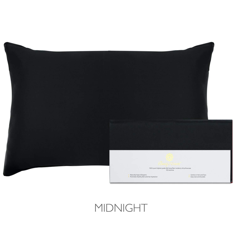 "Beauty of Orient - 100% Pure Mulberry Silk Pillowcase for Hair and Skin, 19 Momme Both Sides, Hidden Zipper, Natural Hypoallergenic Silk Pillow Case - Best Sleep (1pc Standard - 20"" x 26"", Midnight)"