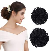 REECHO Thick 2PCS Updo Messy Hair Bun Curly Wavy Ponytail Extensions Hairpieces Hair Scrunchies for Women Girls Color Jet Black