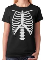 Halloween Skeleton Rib Cage Xray Front and Back Easy Costume Women T-Shirt