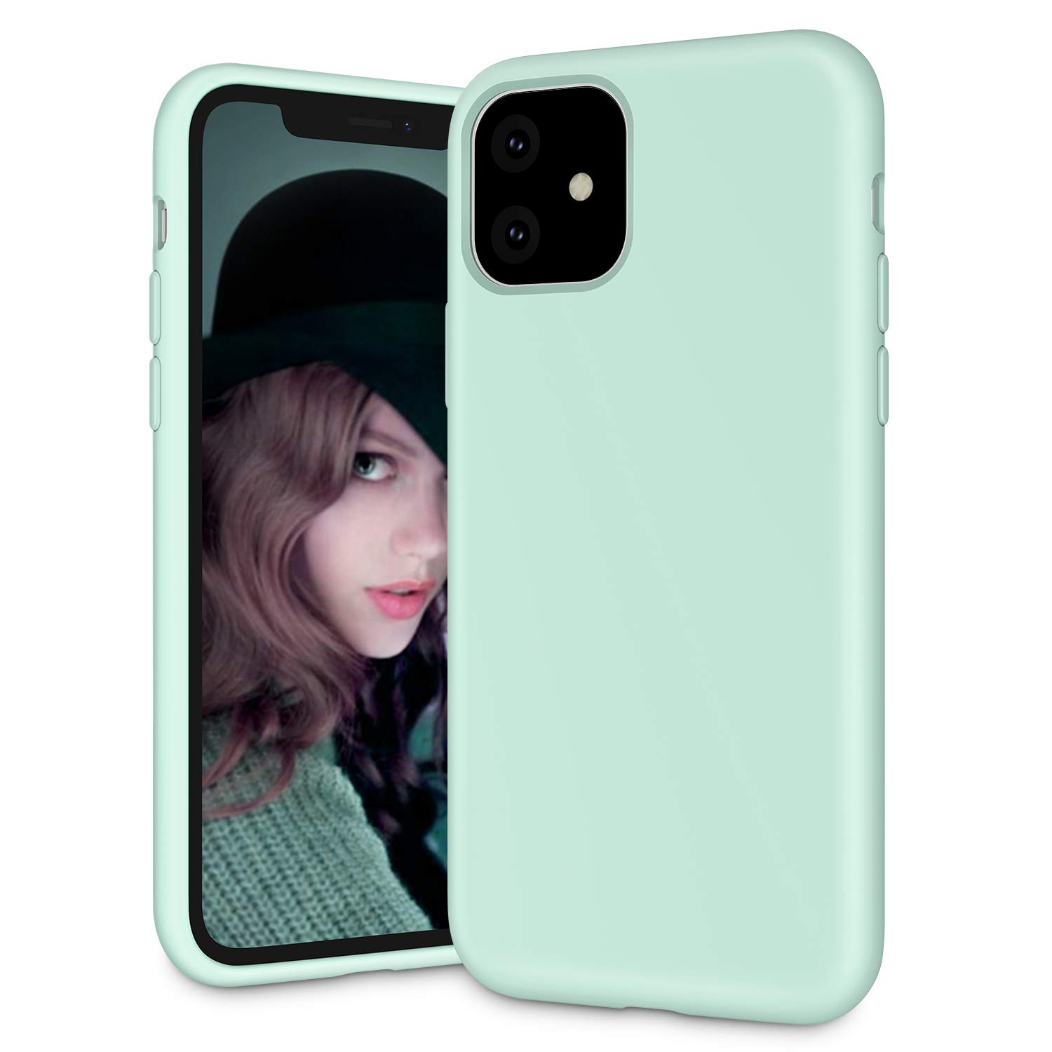"""Soke iPhone 11 Case, iPhone 6.1 Inch Case 2019, Shockproof Soft Silicone Case Cover with Premium Microfiber Lining [Full-Body Protection + Precise Cutouts] for iPhone 11 6.1"""",Mint Green"""