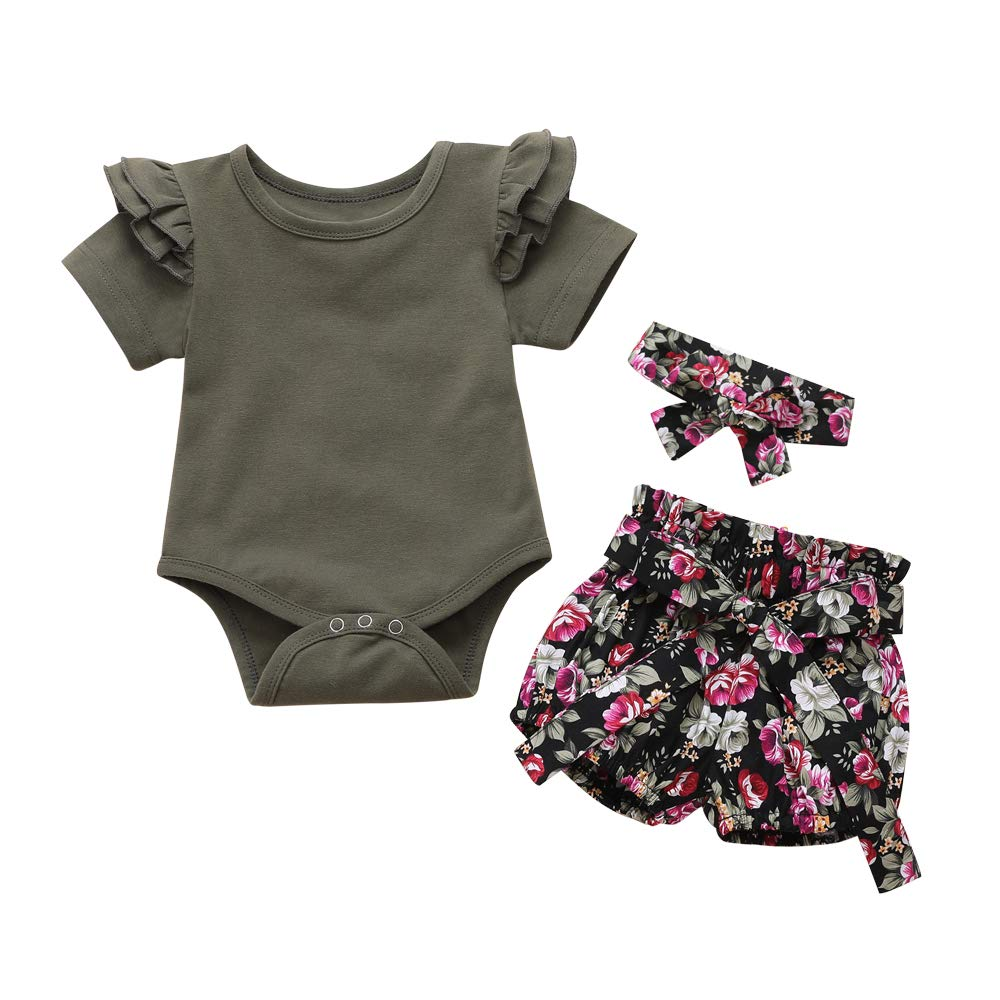 Baby Girl Kids Clothes Outfits Ruffle Romper Floral Pants Bowknot Clothing Set