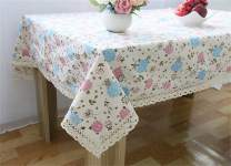 chengsan Vintage Square Cotton Linen Lace Flower Tablecloth, Washable Tablecloth Dinner Picnic Table Cloth Home Decoration Assorted Size (55 X 71 Inch (140180CM), 3)