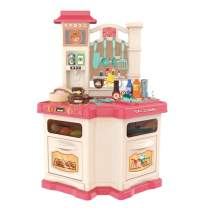 Little Kitchen Playset, Kids Kitchen Set Toy with Realistic Lights & Sounds,Simulation of Spray, Play Sink with Running Water, Dessert Shelf Toy & Other Kitchen Accessories Set for Girls Boys