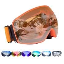 Careonline OTG Ski Goggles, Frameless Snowboard Goggles Interchangeable Lens UV400 Protection Anti-Fog Snow Goggles for Men Women