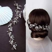 Aukmla Bride Wedding Hair Vine Crystal Bridal Hair Piece Rhinestone Long Hair Accessories for Women and Girls (Silver)