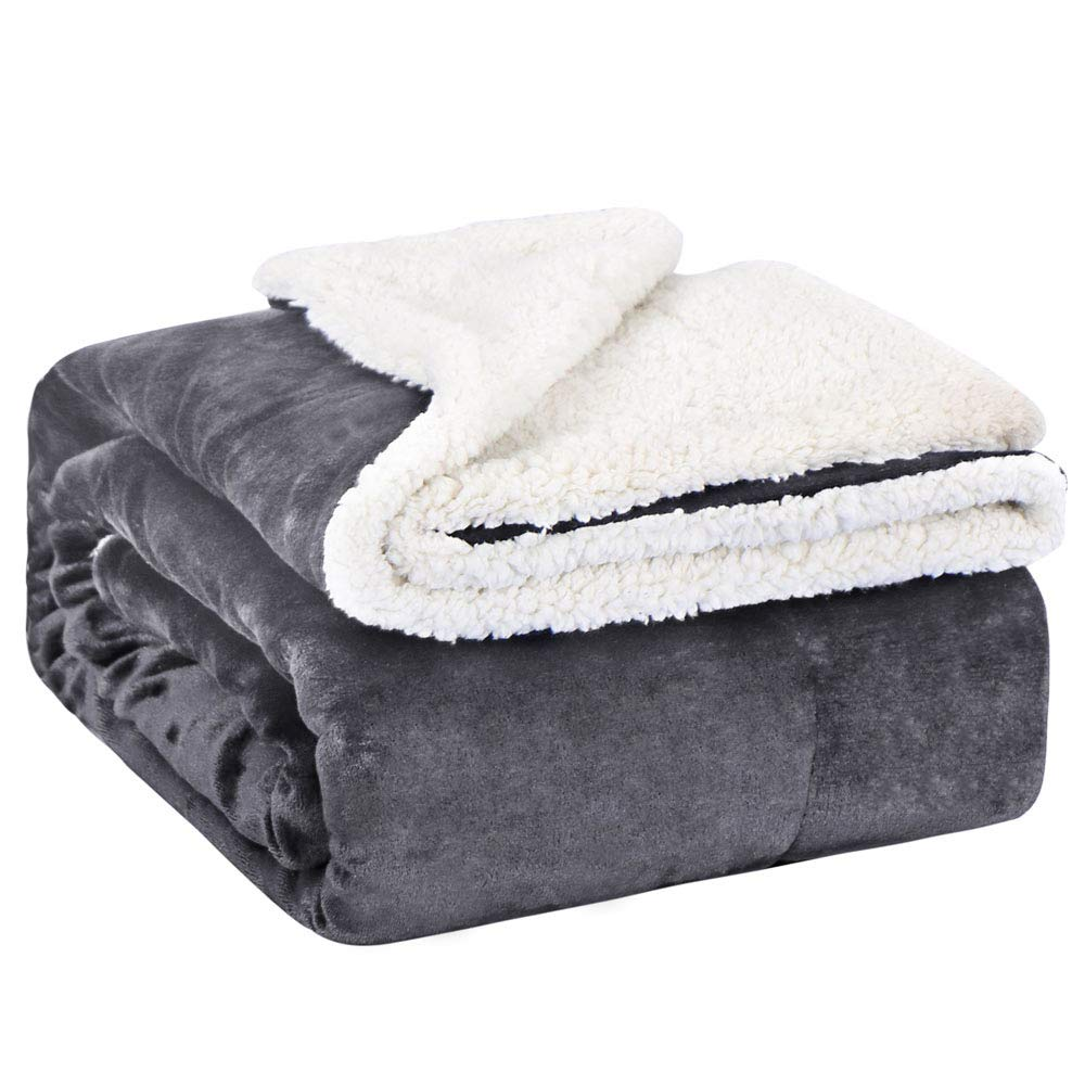 """EMME Sherpa Fleece Blanket Reversible Warm Cozy Microfiber Soft Plush Throw Blanket, Fuzzy Blanket Ultra Luxurious Plush Blanket for Bed Couch Sofa Outdoor Travel (Grey, 50""""x60"""")"""