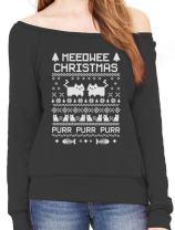 Tstars Ugly Sweater Style Meeowee Christmas - Off Shoulder Sweatshirt