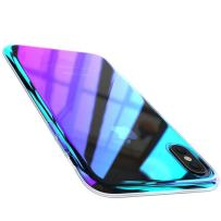 FLOVEME iPhone X XS Case, Luxury Ultra Thin Gradual Colorful Gradient Change Color Lightweight Electroplate Bumper Anti-Drop Clear Hard Back Cover Support Wireless Charging, Transparent Purple