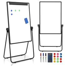"""JOYOOSS 23"""" x 34.5'' U-Stand Whiteboard Portable Magnetic Easel Dry Erase Board Height Adjustable Rotating Foldable & 360° Rotating Flipchart Easel for Home Office School Outdoor"""