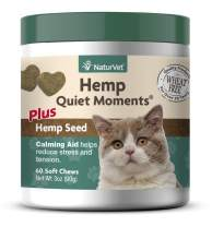 NaturVet Hemp Quiet Moments Plus Hemp Seed for Cats, 60 ct Soft Chews, Made in USA