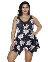 JOYMODE Women's Plus Size Floral Swimdress 2 Pieces Tankini Set V Neck Swimwear