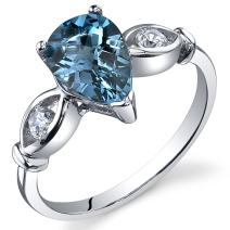 3 Stone 1.50 carats London Blue Topaz Ring in Sterling Silver Rhodium Nickel Finish Sizes 5 to 9