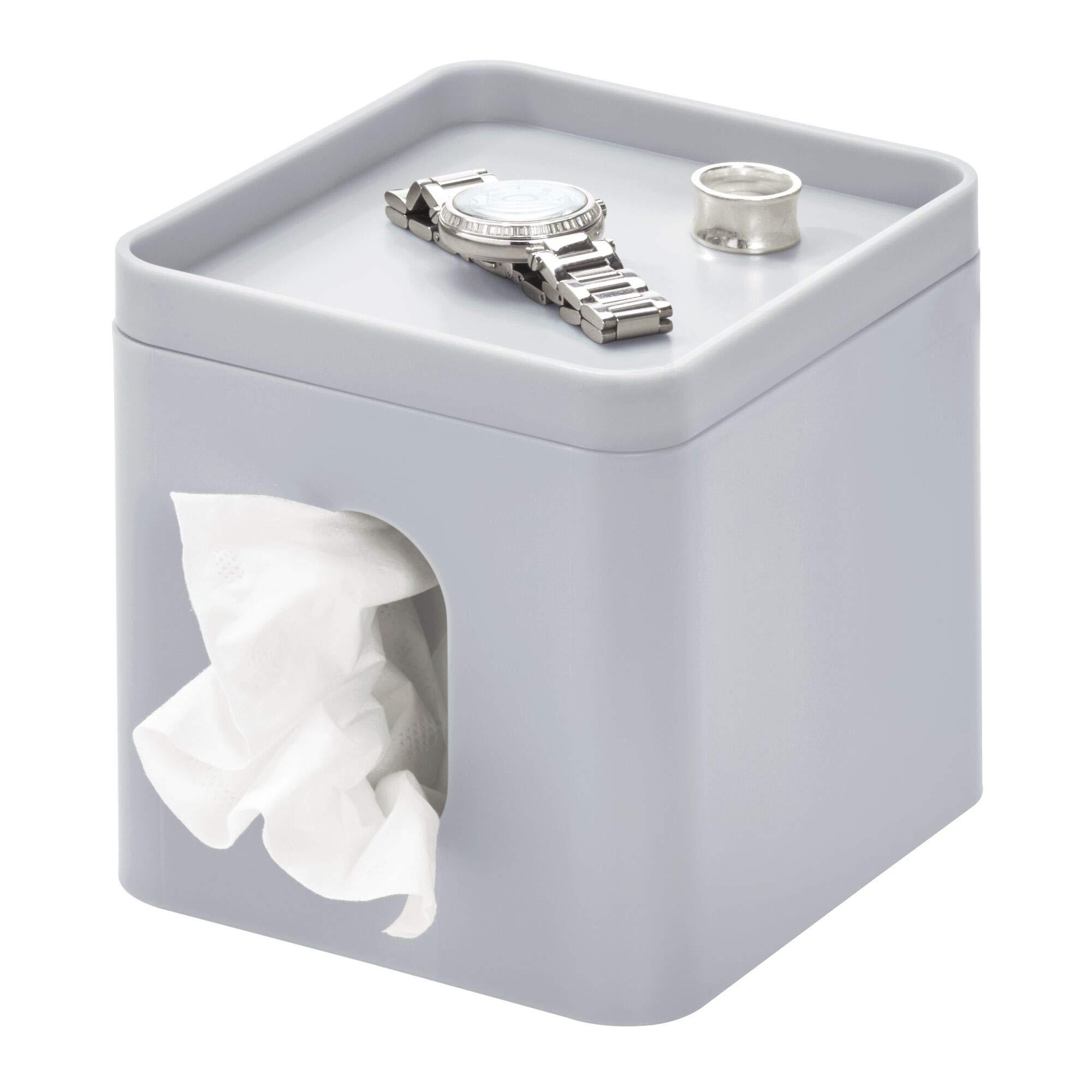 iDesign Cade Facial Tissue Cover, Boutique Box Bathroom Holder for Vanity, Countertops, Desk, Office, Dorm, 15.5 cm x 13.1 cm x 13.7 cm, Matte Gray