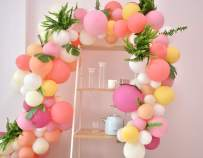 Pink Balloons Arch&Garland Kit/90PCS Pastel Summer Party Balloons Macaron 9 Colors for Wedding, Baby Shower, Graduations, Anniversary Organic Party Decorations