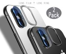[2 Pack] Tempered-Glass Camera Protector for iPhone X 2.5D Ultra Thin HD Anti-Fingerprint Protective Clear Film for iPhone Lens with 2 Phone Camera Covers (iPhone X)