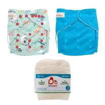 Lil Helper Reusable Cloth Diapers with 1 Prefold Bamboo Liner Insert (Pack of 2) (A - Narwhals/Ocean)