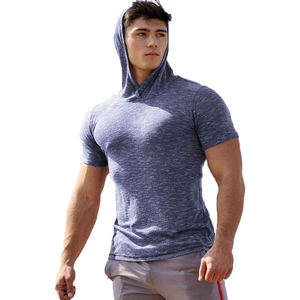 DUOFIER Mens Casual Hoodie Swearshirt Tops Short Sleeve Shirts Gym Workout with Adjustable Drawstring