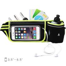 NORYER Multifunction Running Belt with 10 oz Bottle, Touchscreen Zipper Pockets Water Resistant Bag for Running Hiking Fit Anysize Phone