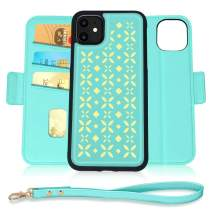 Jasilon iPhone 11 Case 6.1'' 2019, [Magnet Detachable] Luxury Leather Wallet case with [Card Holder, Strap, Kickstand], Flip Folio iPhone 11 Phone Case for Women-MintGreen