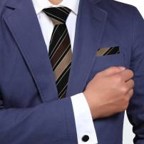 Y&G Men's Fashion Multiple Colors Stripe Tie Cufflinks Hanky Silk Necktie Perfection Presents 3PT