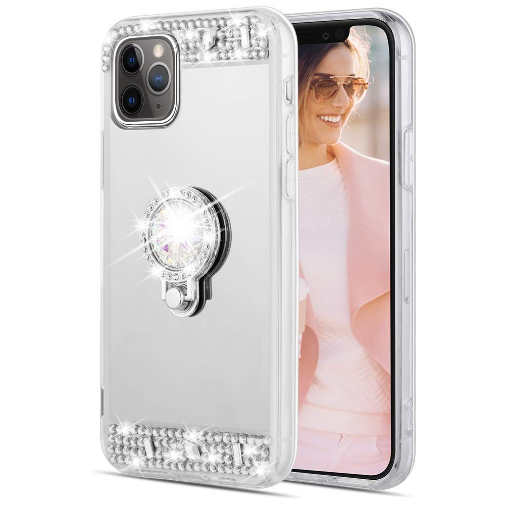 Caka Glitter Case for iPhone 11 Pro Mirror Case with Ring Holder Kickstand for Girls Women Bling Shining Rhinestone Diamond Luxury Fashion Makeup Protective Case for iPhone 11 Pro (5.8 inch)(Silver)