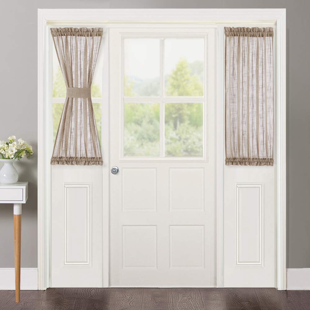 """NICETOWN Sidelight Curtains for Front Door - Faux Linen Sheer Textured French Door Curtains Solid Sheer Small Glass Window Panels with Bonus Tiebacks (Taupe, 30"""" Wide x 40"""" Long, Set of 2)"""