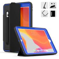 DUNNO New 10.2 Case 2019, Hybrid Leather Three Layer Heavy Duty Smart Cover with Auto Sleep/Wake Pencil Holder Stand Feature Design for iPad 7th Gen 10.2 Inch 2019 (Black/Navy)