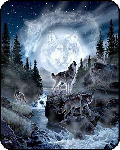 """60"""" x 80"""" Blanket Comfort Warmth Soft Cozy Air Conditioning Easy Care Machine Wash Moon Wolf"""