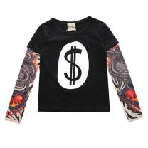 WINZIK Toddler Kids Boy Girl Tattoo Sleeve Shirt Cotton Pullover Tee Tops Novelty Halloween Outfit Clothes Gift for 1-6 Years