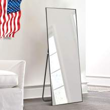 """self Full Length Floor Mirror 43""""x16"""" Large Rectangle Wall Mirror Hanging or Leaning Against Wall for Bedroom, Dressing and Wall-Mounted Thin Frame Mirror - Black"""