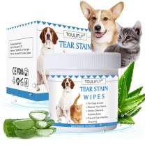 TOULIFLY Pet Tear Wipes, Tear Stain for Dogs & Cats, Natural Eye Tear Stain Remover Pads, Pet Eye Cleaning Wipes, Pet Soft Grooming Wipes, 150 Presoaked Textured Stain Wipes